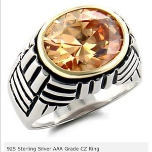 925 Sterling Silver Ring with AAA grade Champagne